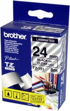 BANDA LAMINATA BLACK ON CLEAR TZE151 ORIGINAL BROTHER P-TOUCH D600VP
