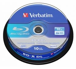 BD-R VERBATIM DUAL LAYER 50GB 6X WHITE BLUE SPINDLE 10 43746