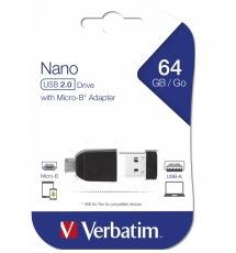 STICK USB VERBATIM STORE'N'STAY NANO 64GB + OTG ADAPTOR 49329