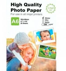HARTIE PHOTO GLOSSY A6 230G 20COLI
