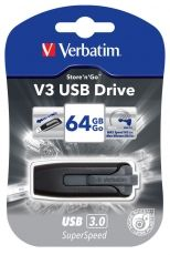 Stick USB Verbatim, Store'N'Go V3, 64 GB, USB 3.0, Retractabil, Black, 49174